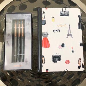 Travel Journal and 3 Pen Set Bundle